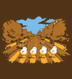 Threadless t-shirt: Why Did The Chicken Cross Abbey Road...? Tee