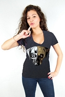Women's Puginator Deep V-Neck (Charcoal)
